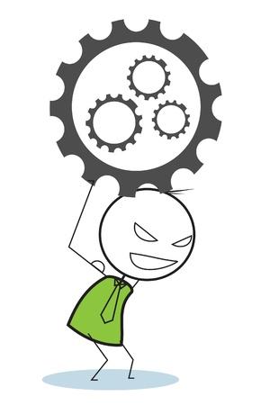 strong businessman progress gear Stock Vector - 15680822