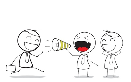 caucasians: affari attrazione con il megafono