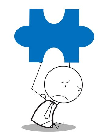 unhappy worker: businessman jigsaw sad