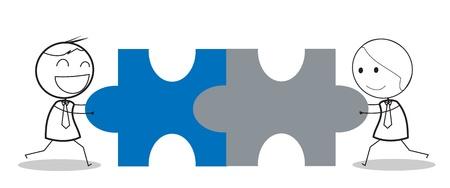 businessman jigsaw Vectores