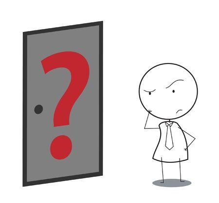 businessman door question Stock Vector - 16247929
