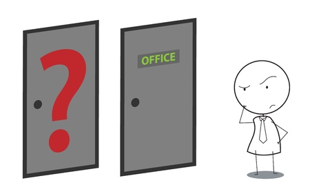 businessman door question Vector