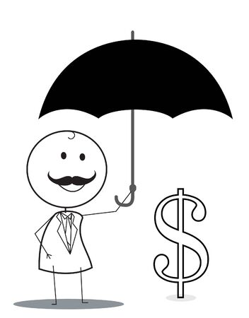 businessman with umbrella protect investation Stock Vector - 16755948