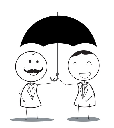 partners: businessman with umbrella teamwork