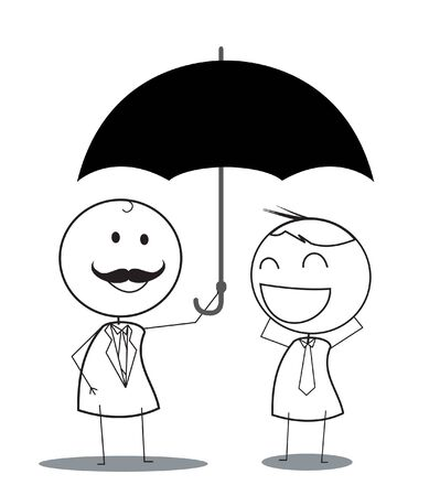 happy employees: businessman umbrella protection