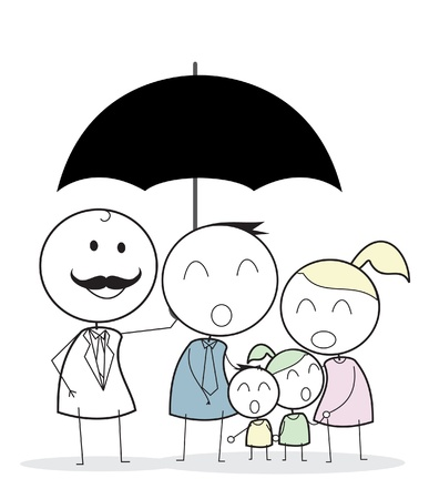 businessman with family insurance  Vector