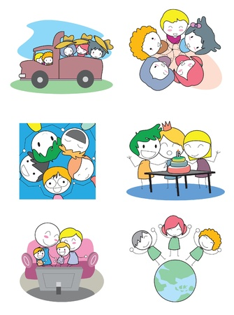 Happy Kids Set Vector