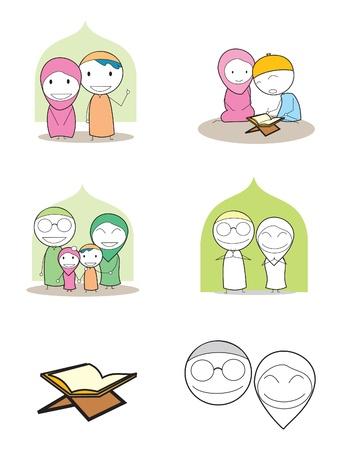 moslem family  イラスト・ベクター素材