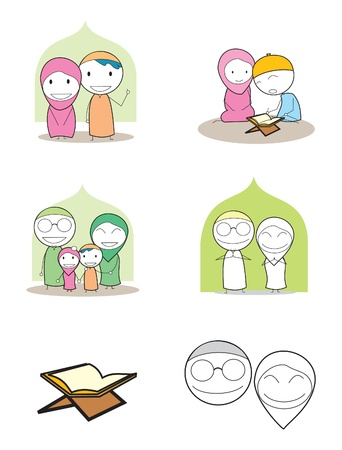 moslem family Illustration