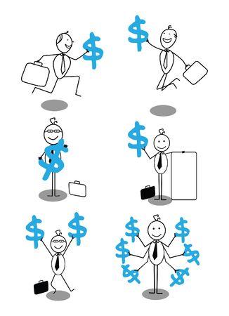 happy businessman & dollar Stock Vector - 18093185