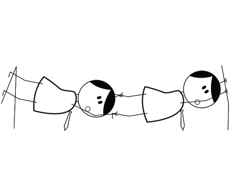 tightrope: businessman teamwork risk
