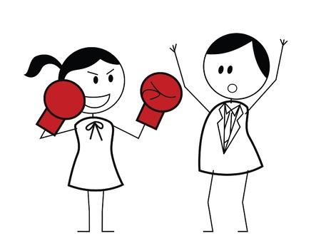 businesswoman boxer fighting Vector