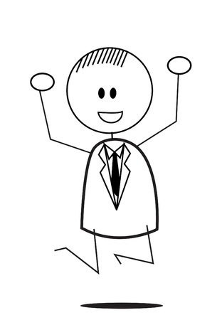 businessman jump happy Vector