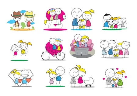 Happy Family  イラスト・ベクター素材