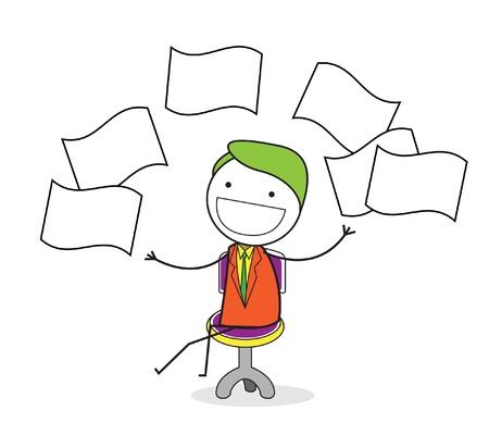 throw up: businessman throw paper