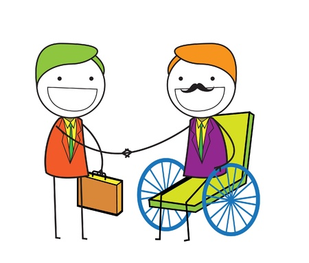 handshake man wheelchair  Vector