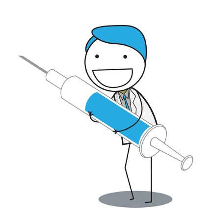 an injector: injection man Illustration