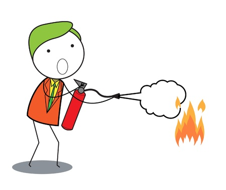 extinguish: man fire extinguisher Illustration