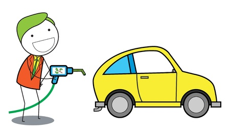 pumping: man using gas oil for car Illustration