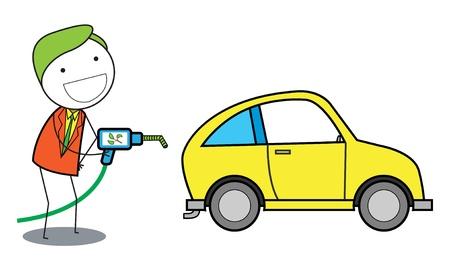gas man: man using gas oil for car Illustration