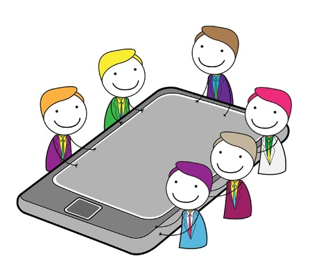 meeting group online  イラスト・ベクター素材