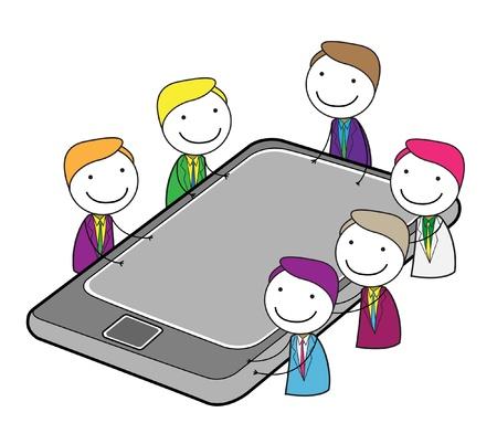 meeting group online Illustration
