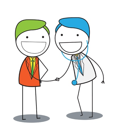 general insurance: man shake a hand with doctor Illustration