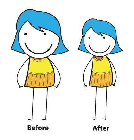 before and after: before after girl Illustration