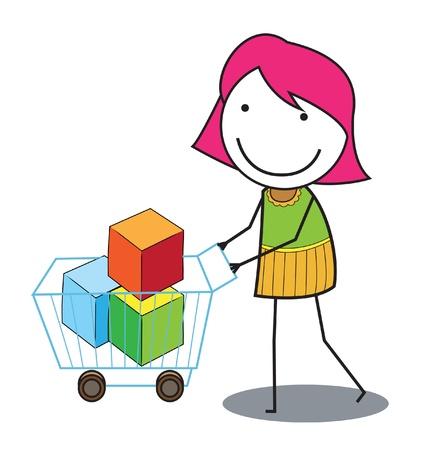 shoping: woman shoping troley