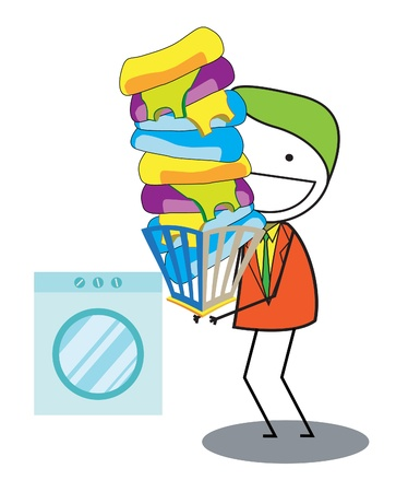 man washing cloth Vector
