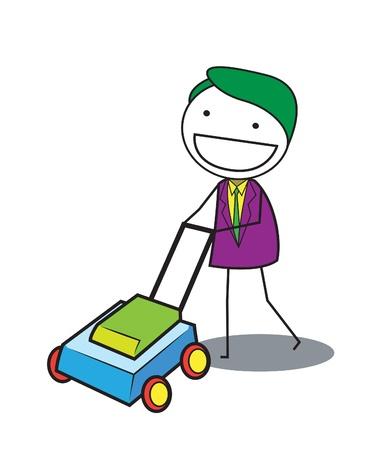 lawn mowing: man grass