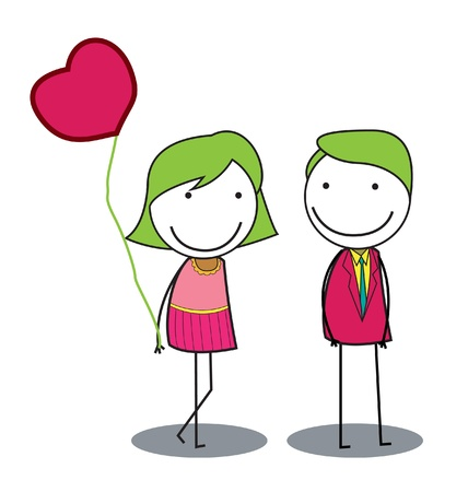 romance: dating koppel Stock Illustratie