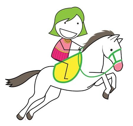 pony ride: girl horse Illustration