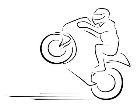 motociclista: ilustración vectorial moto símbolo carrera