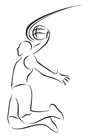 slam dunk: vector illustration  basket ball player symbol