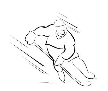 hockey skates: hockey player Illustration