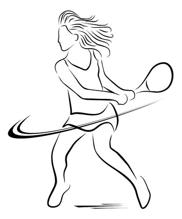 tennis woman player symbol  Vector