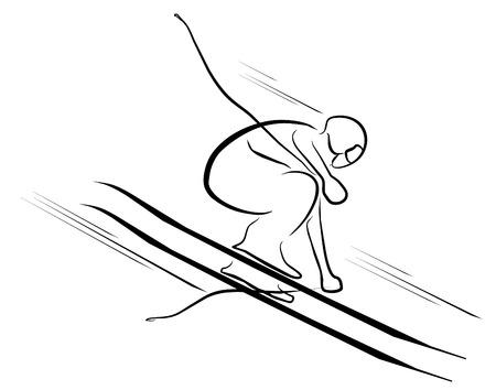 narciarz: narciarstwo symbol Ilustracja