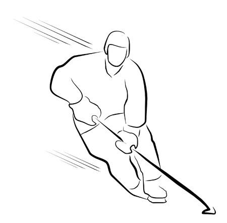 ice hockey player: hockey player Illustration