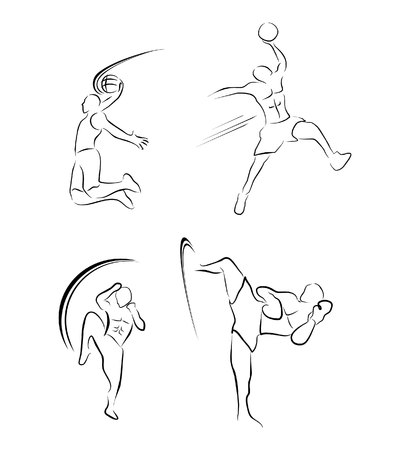 kickboxing: Muay Thai And BasketBall Sport Symbol Collection