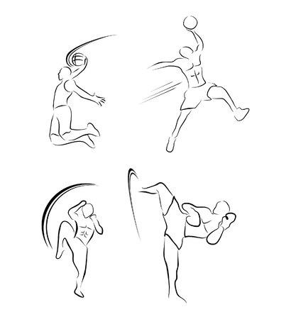 muay thai: Muay Thai And BasketBall Sport Symbol Collection