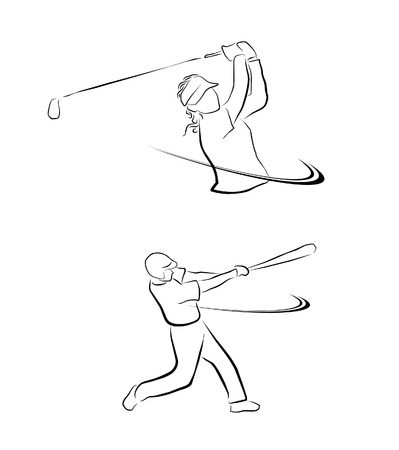 baseball stadium: Golf And Softball Sport Symbol Collection  Illustration