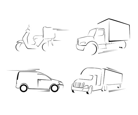 moving truck: Delivery Transportation Set Collection Illustration