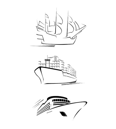 Big Ship Set Collection Vector