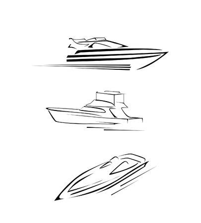 speed boat: Barco de la velocidad Set Collection Vectores