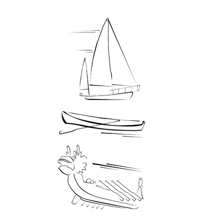 junk boat: Traditional Boat Set Collection Illustration