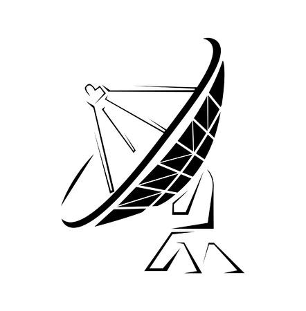 schotelantenne Eenvoudige Symbool Stock Illustratie