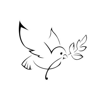 оливки: голубь мира простой символ Иллюстрация