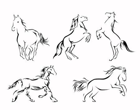 Horse Set Collection Vector