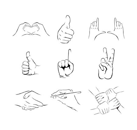 pointing up: Hand Set Collection Illustration